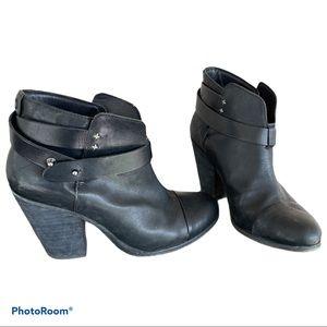 RAG & BONE Harrow Leather Strap Block Heel Booties
